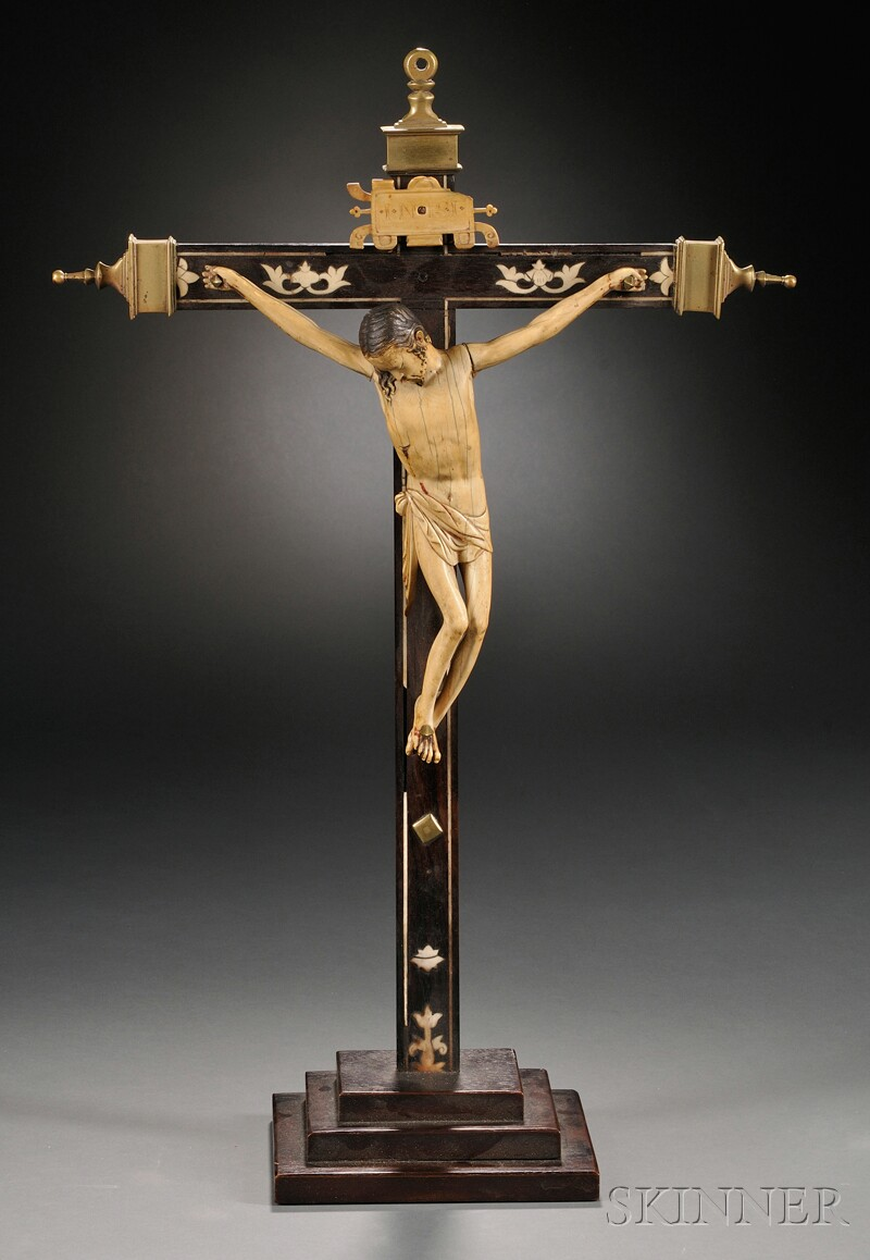 Continental Ivory-inlaid and Brass-mounted Crucifix