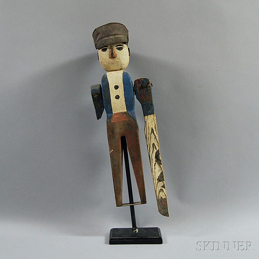 Polychrome Carved Wood Whirligig