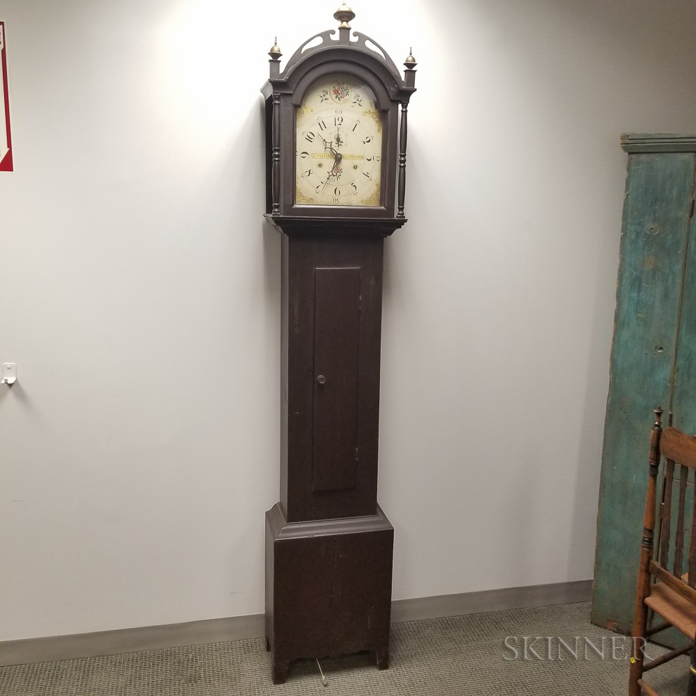 Federal Riley Whiting Brown-painted Pine Tall Case Clock