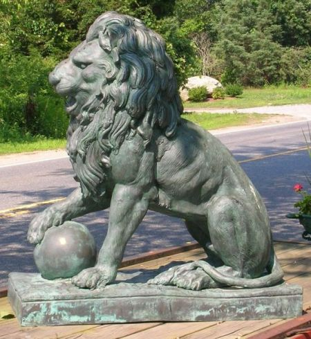 Modern Patinated Cast Bronze Lion and Orb Garden Figure