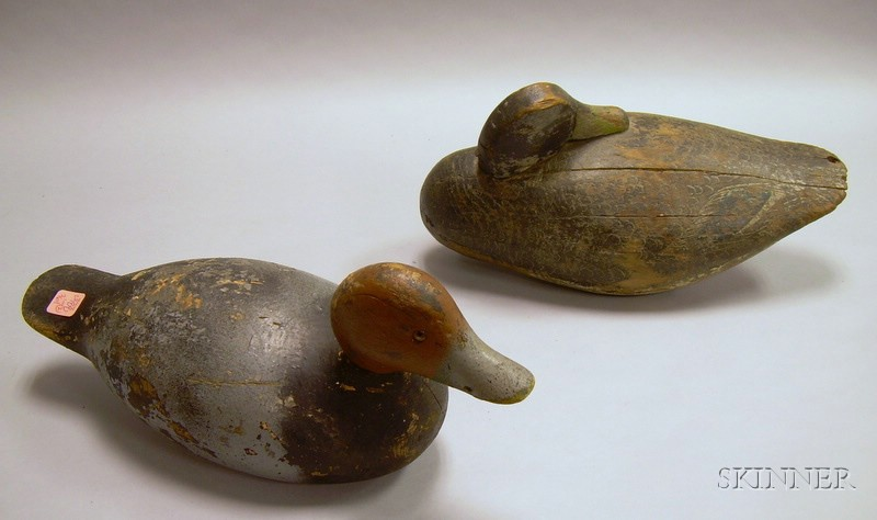 Two Carved and Painted Wooden Working Duck Decoys.