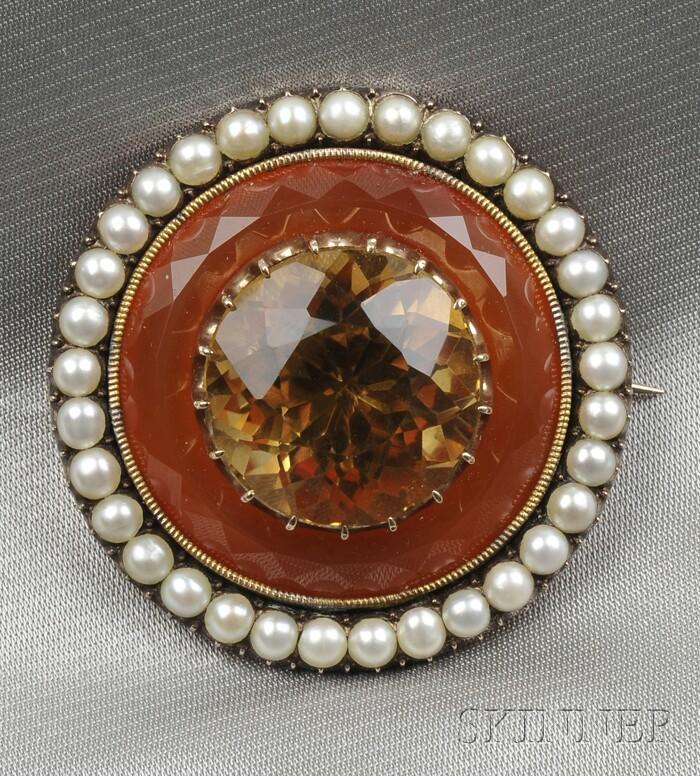 Antique Citrine, Carnelian, and Split Pearl Target Brooch