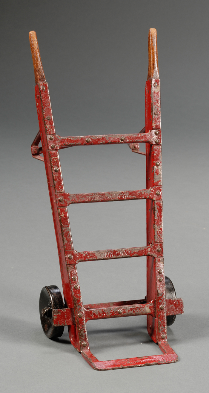 Red-painted Steel and Wood Hand Truck Model