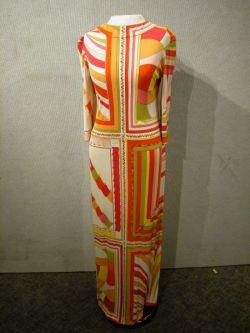 Pucci Silk Three-Quarter Sleeve Long Dress.