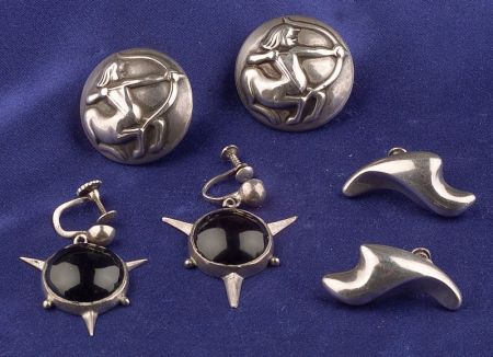 Three Pairs of Silver Earclips