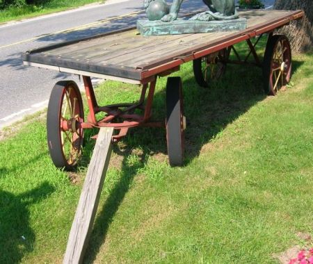 Painted Victorian Cast Iron and Wooden Rail Station Baggage Wagon