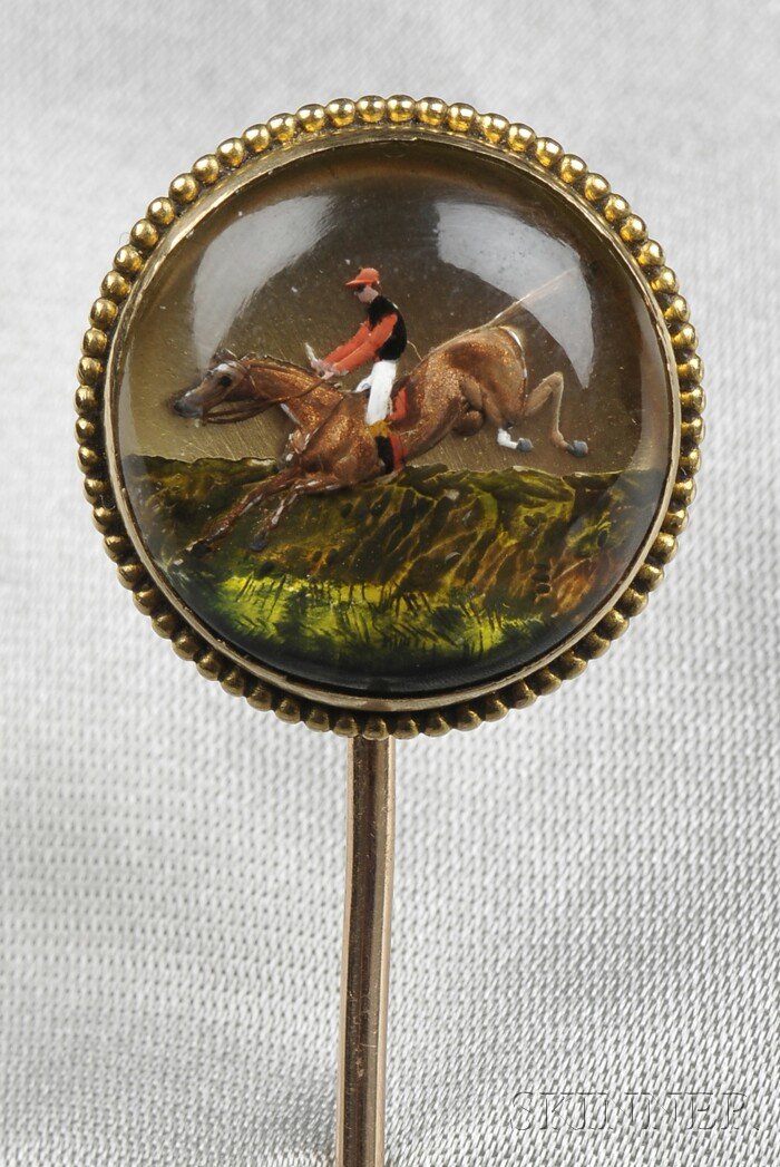 Antique 18kt Gold Reverse-painted Crystal Stickpin, France