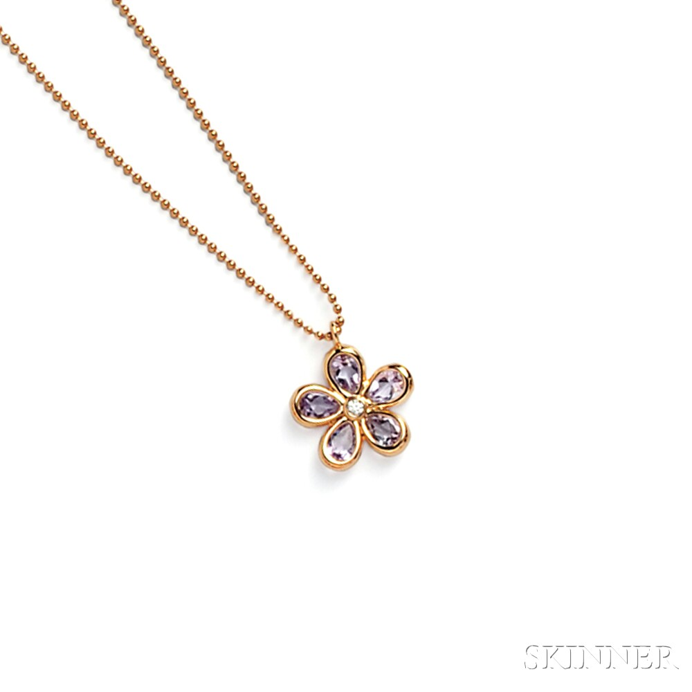 "18kt Rose Gold and Amethyst ""Tiffany Sparklers"" Flower Pendant, Tiffany & Co."