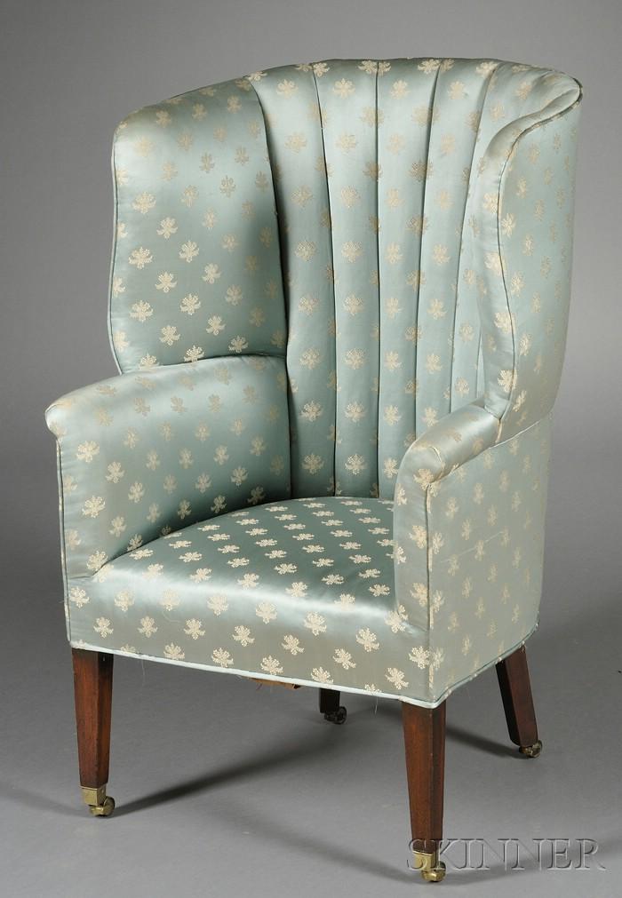 George III Mahogany Barrel-back Wing Chair