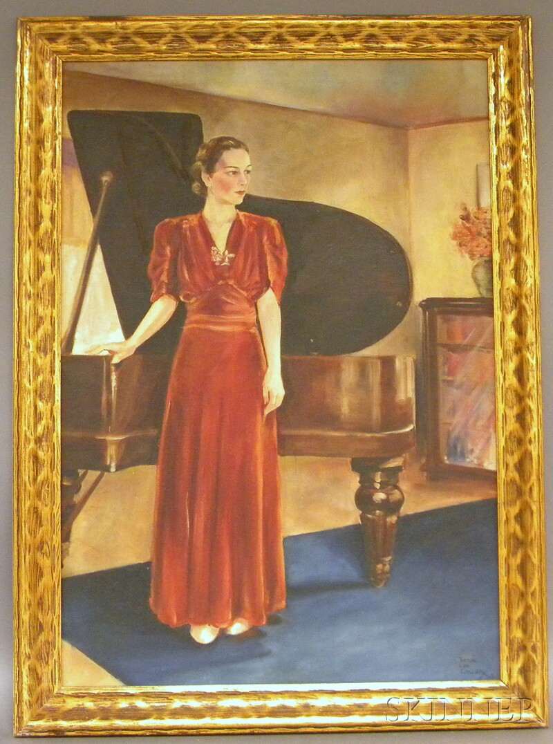 Theron Leo Collier Oil on Canvas Portrait of a Lady at Her Piano