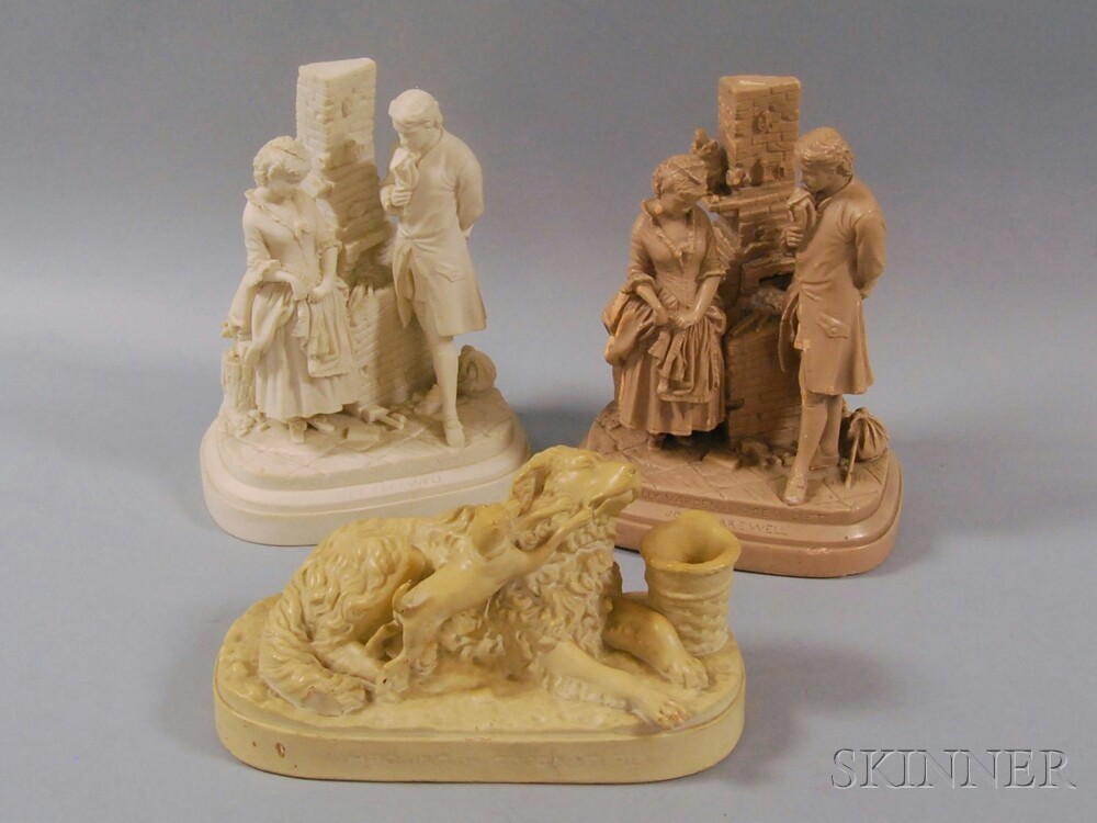 Three Parian and Painted Plaster Figural Groups