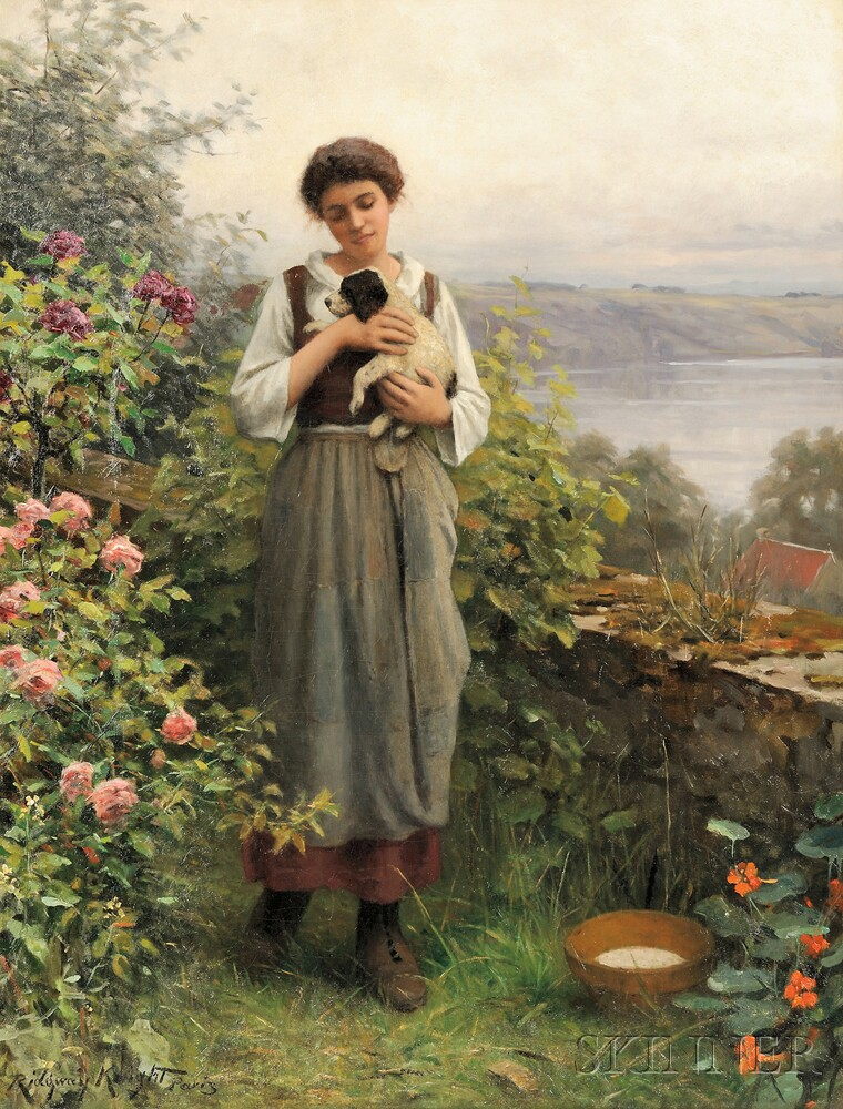 Daniel Ridgway Knight (American, 1839-1924)      Young Girl Holding a Puppy