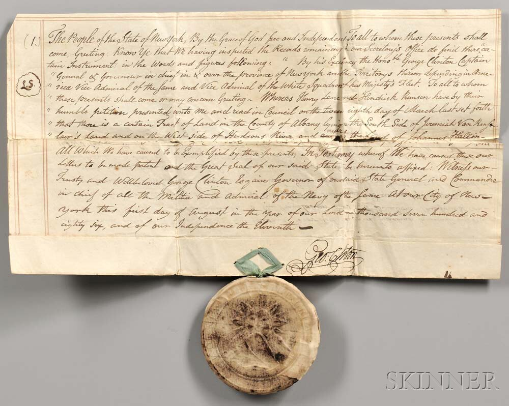 Prévost, Augustine (1723-1786) Two Parchment Documents [and] Three Others Signed by George Clinton.