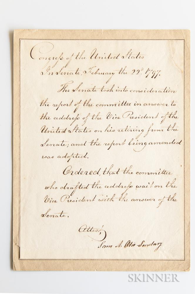Otis, Samuel Allyne (1740-1814) Document Signed February 22, 1797, Referring to John Adams' Retirement from the Senate.