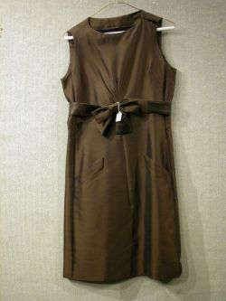 Christian Dior Boutique Brown Dress with Sash Bow.