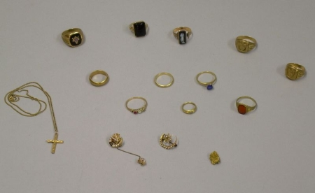 Eleven Assorted Gold Rings, Three Small Pins, and a Cross Pendant Necklace.