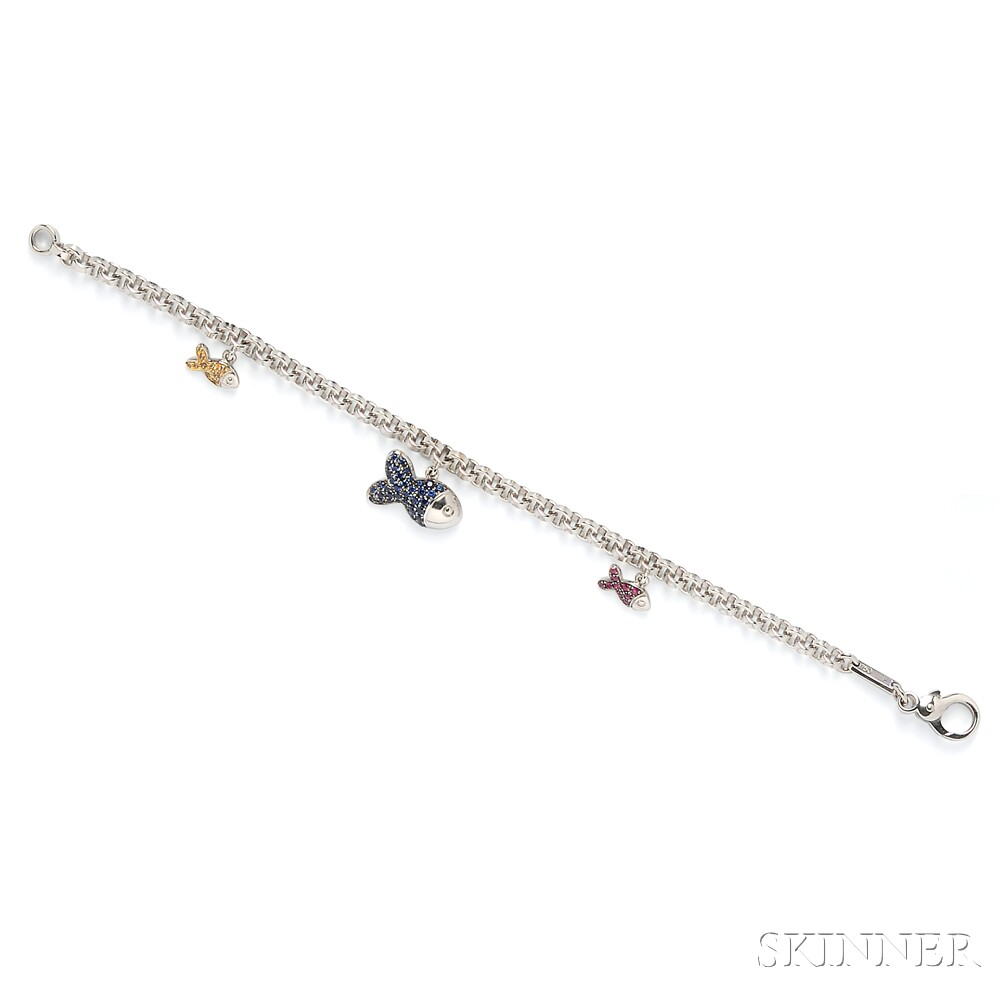 "18kt White Gold Gem-set ""Happy Fish"" Bracelet, Chopard"