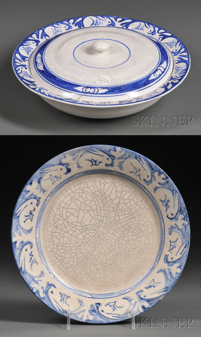 Chelsea Pottery Dinner Plate and a Dedham Pottery Covered Bowl