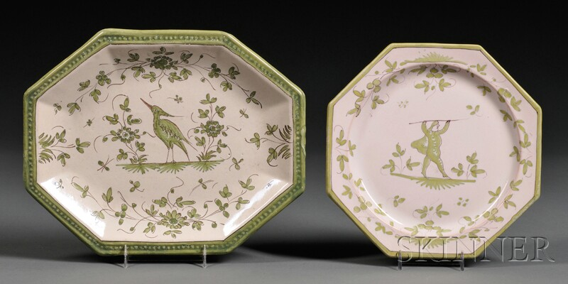 Pottery Platter and Ten Plates