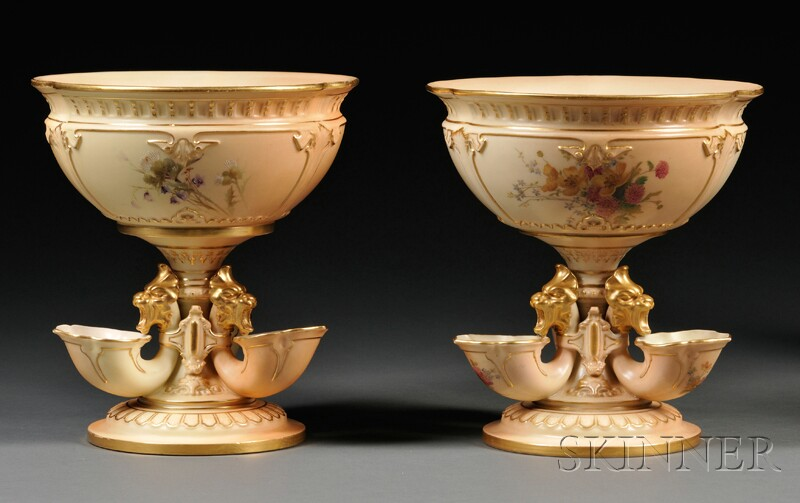 Two Royal Worcester Porcelain Flower Bowls