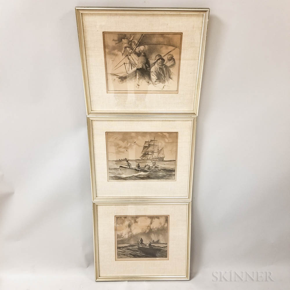 Three Framed Gordon Grant Maritime Lithographs