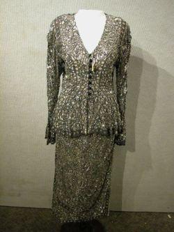 Eavis & Brown Two-Piece Silver Sequin Lace Womans Suit.