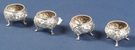 Set of Four S. Kirk & Son Sterling Repousse Open Salts