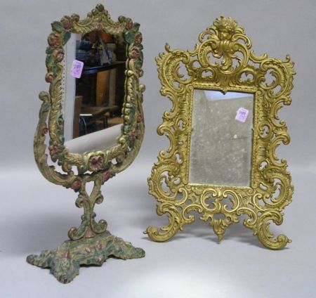 Two Painted Cast Iron Table Mirrors.