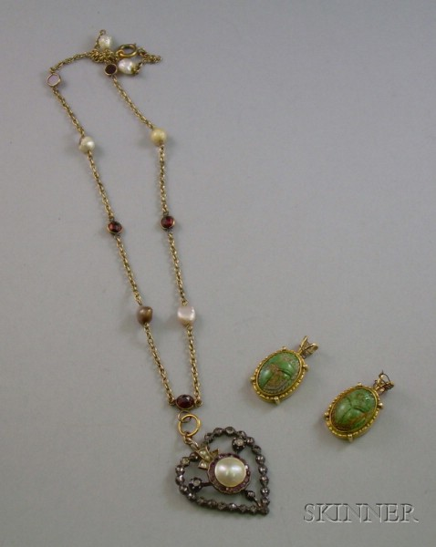 Two Gold and Turquoise Scarab Pendants and a Blister Pearl, Garnet, and Rose-Cut Diamond Pendant Necklace.