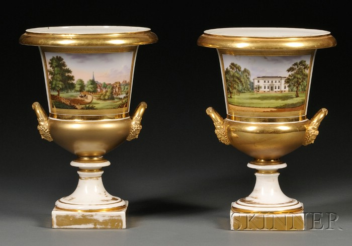 Pair of Paris Porcelain Topographically Decorated Urns