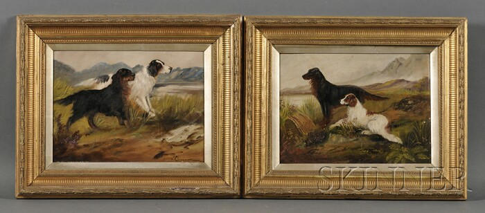 British School, 19th/20th Century      Lot of Two Paintings of Sporting Dogs: Gordon Setter and Spaniel