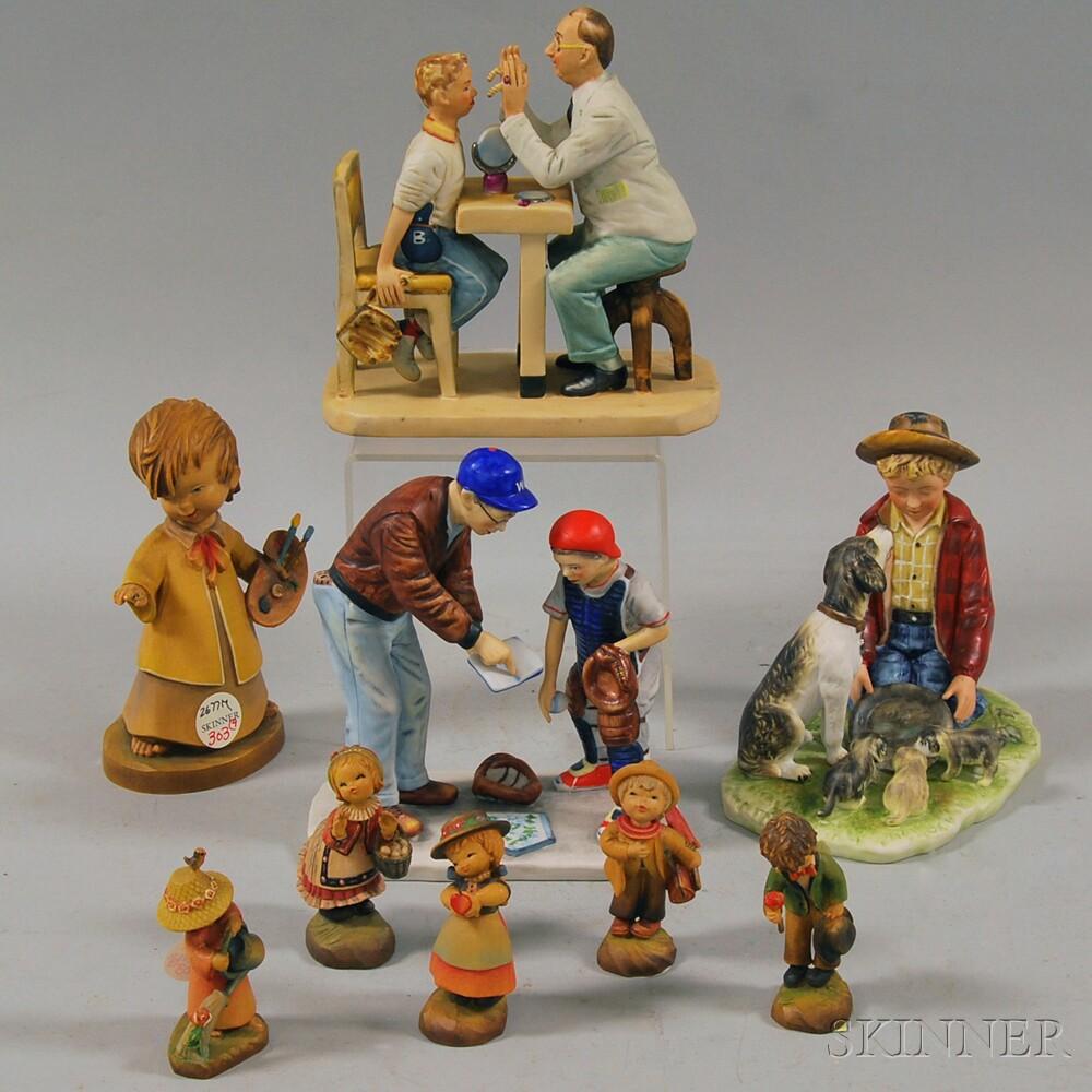 Nine Ceramic and Wood Figures