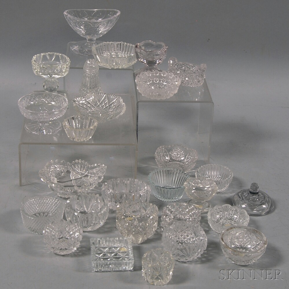 Twenty-six Colorless Glass Salts and One Cover