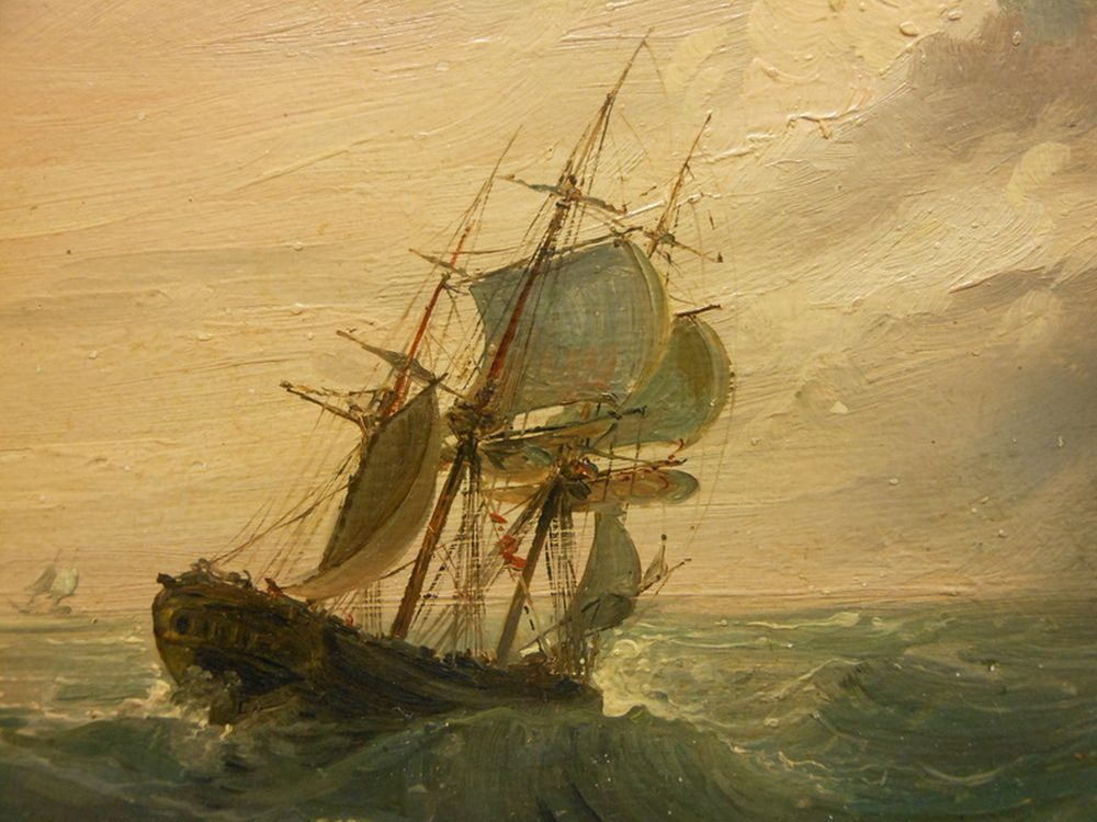 Continental School, 19th Century      Ship in Rough Seas with Approaching Storm