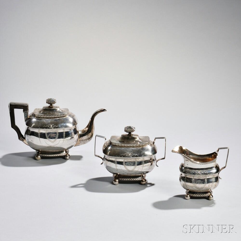 Three-piece American Coin Silver Tea Service