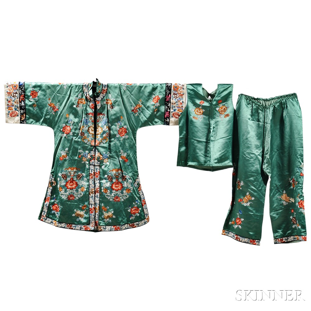Two Embroidered Silk Robe and Trousers Sets
