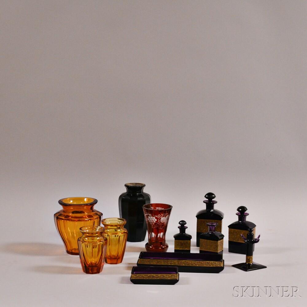 Twelve Colored Glass Items