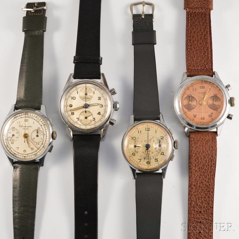 Four Vintage Manual-wind Chronograph Wristwatches