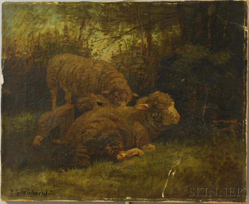 Nellie Pairpoint (American, 1897-1914)      Three Sheep Resting in a Forest Glade.