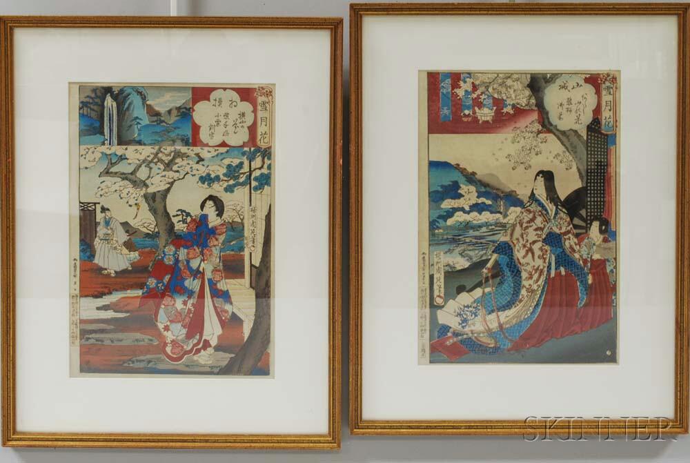 Two Framed Yosho Chikanobu Woodblocks