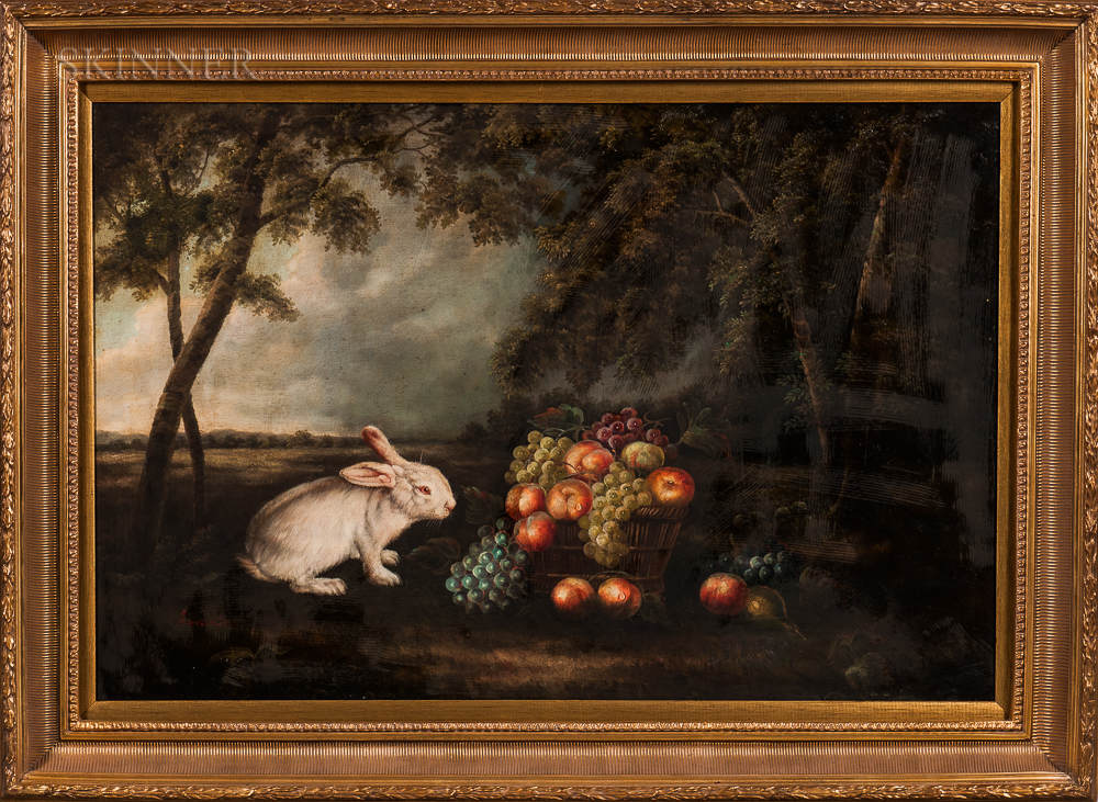 Anglo-American School, 20th Century    Landscape with White Rabbit and Fruit Still Life