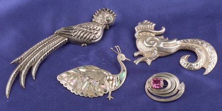 Three Mexican Silver Bird of Paradise Brooches