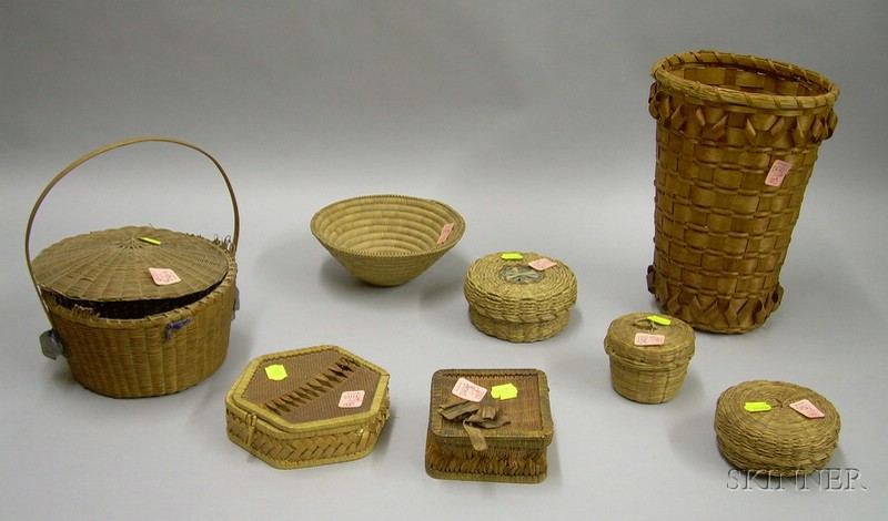 Six Small Lidded Woven Basketry Items, a Coiled Basket, and a Tall Woven   Splint Basket