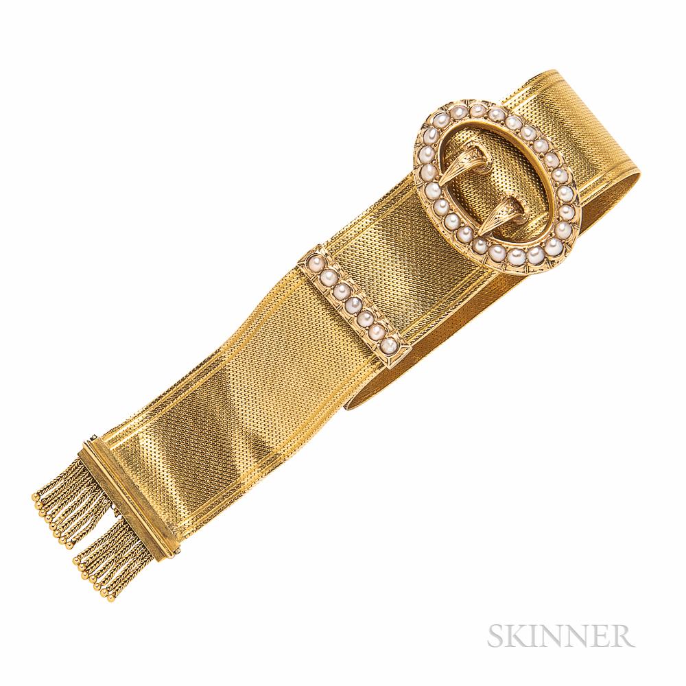Victorian Gold and Split Pearl Garter Bracelet