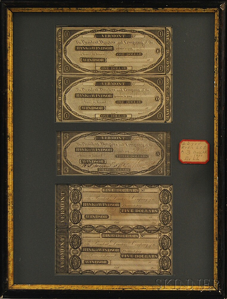 Five Framed Bank of Windsor Banknotes