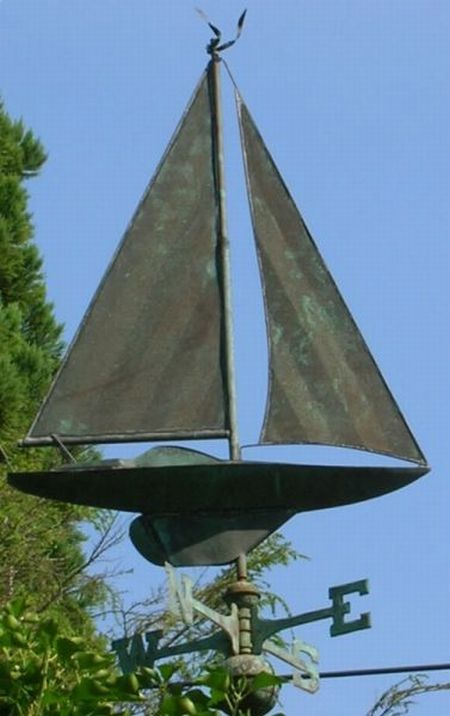 Patinated Copper Sailboat Weather Vane