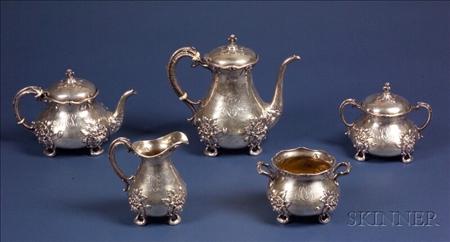Gorham Art Nouveau Sterling Five Piece Tea and Coffee Service