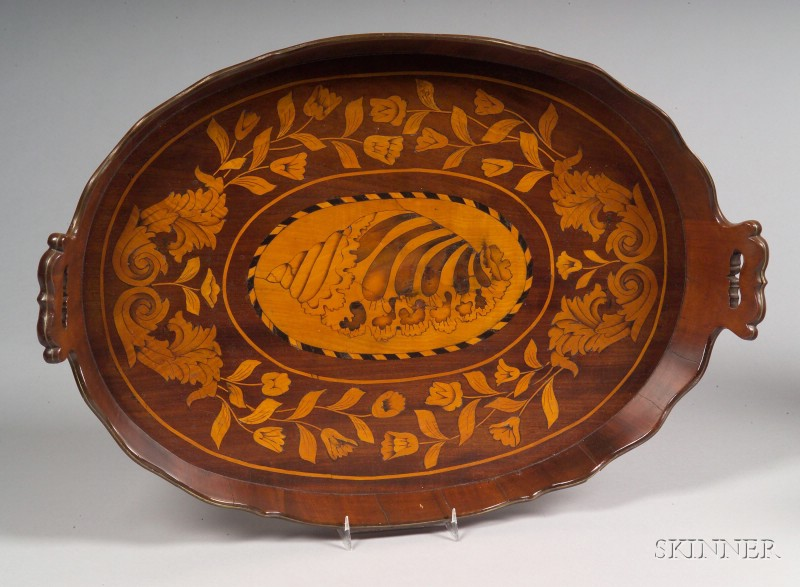 Dutch Marquetry and Brass-bound Serving Tray