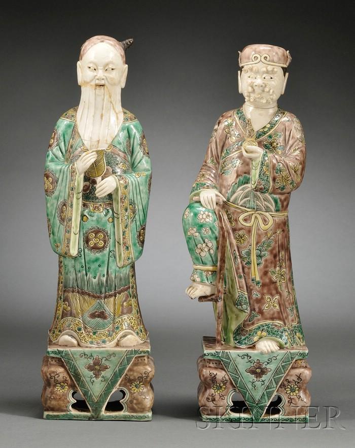 Two Famille Verte Figures