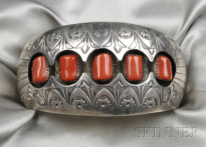 Navajo Sterling Silver and Coral Cuff Bracelet, P. Benally